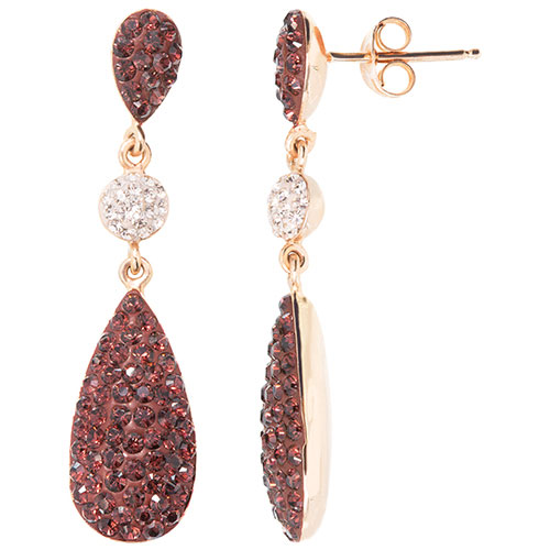 5f979eb2840422 Overview. Featuring a rich bordeaux colour set in a combination of rose gold  and sterling silver, these Swarovski crystal drop earrings ...