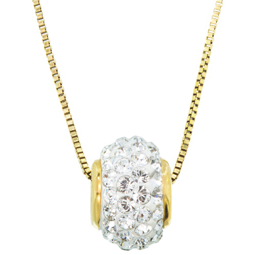 Classic gold plated sterling silver slider ball with swarovski classic gold plated sterling silver slider ball with swarovski crystal pendant necklace necklaces best buy canada aloadofball Image collections