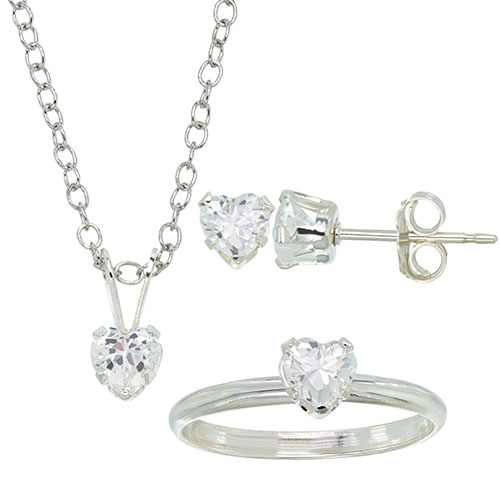 Classic White Heart Cubic Zirconia Sterling Silver Jewelry Set   Jewelry  Sets - Best Buy Canada b83e6b2e6