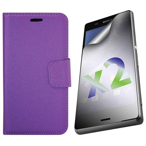 Exian Xperia Z3 Wallet Folio Case - Purple