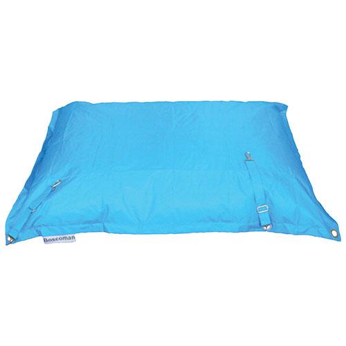 Fauteuil poire contemporain carré avec courroie - Bleu de mer