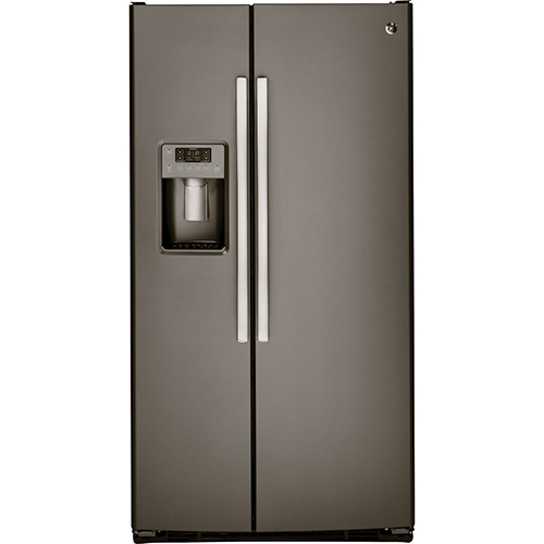 """GE 36"""" 25.4 Cu. Ft. Side-By-Side Refrigerator (GSS25GMHES) - Slate"""