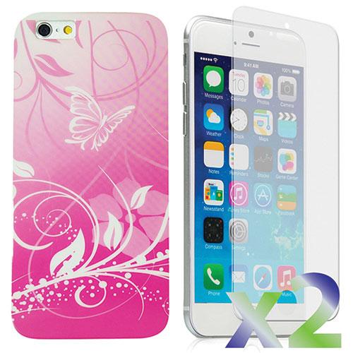 Étui avec motifs de papillons d'Exian pour iPhone 6 Plus avec protecteur d'écran - Rose