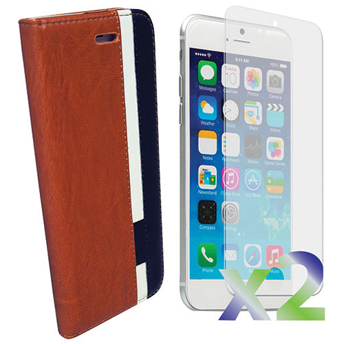 Exian iPhone 6/6s Plus Wallet Case With Screen Protector - Brown