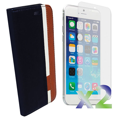 Exian iPhone 6/6s Plus Wallet Case With Screen Protector - Black