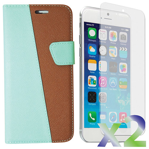 Exian iPhone 6/6s Plus Wallet Case With Screen Protector - Green/Brown
