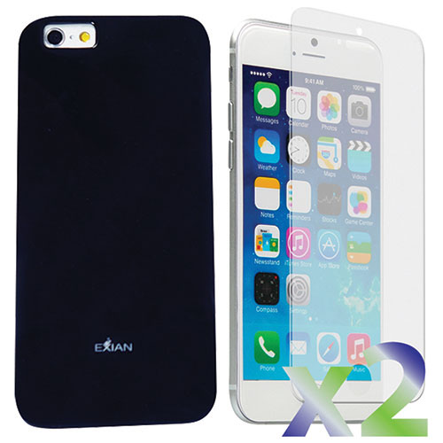 Exian iPhone 6 Plus Case With Screen Protector - Black
