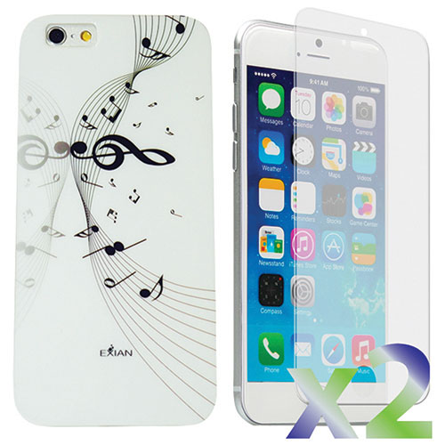 Exian iPhone 6 Plus Musical Notes Case With Screen Protector - White