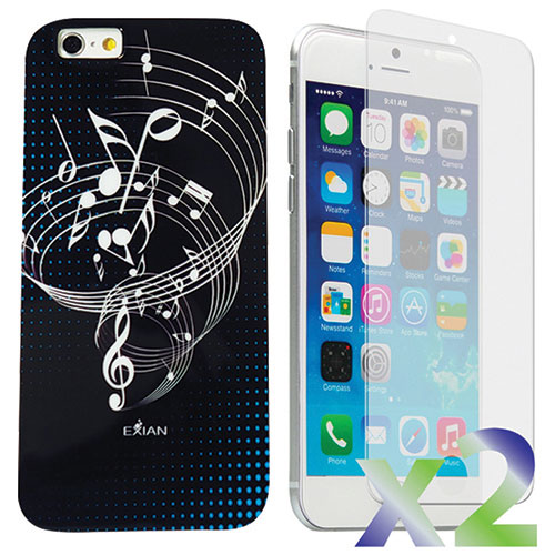 Exian iPhone 6 Plus Musical Notes Case With Screen Protector - Black