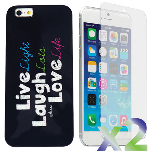 Exian iPhone 6 Plus Live/Laugh/Love Case With Screen Protector - Black