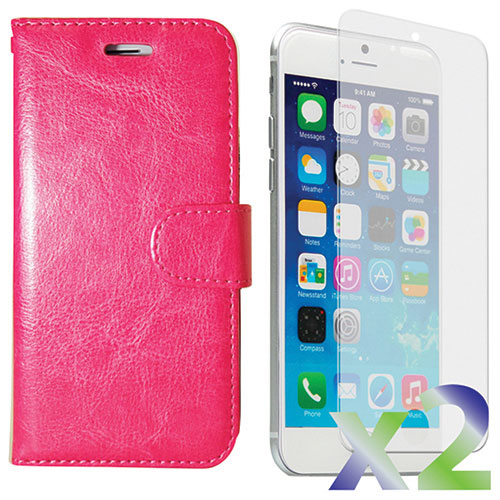 Exian iPhone 6/6s Wallet Case With Screen Protector - Hot Pink