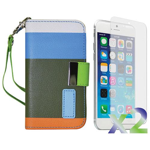 Étui à rabat d'Exian pour iPhone 6/6s avec protecteur d'écran