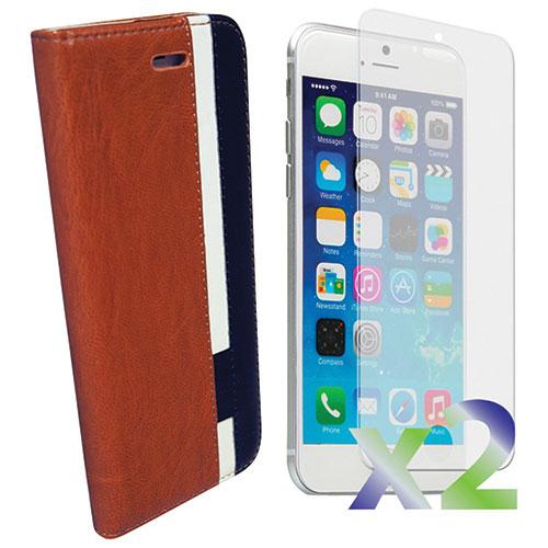 Étui portefeuille d'Exian pour iPhone 6/6s avec protecteur d'écran - Brun