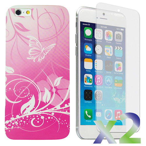 Exian iPhone 6/6s Butterfly Case With Screen Protector - Pink