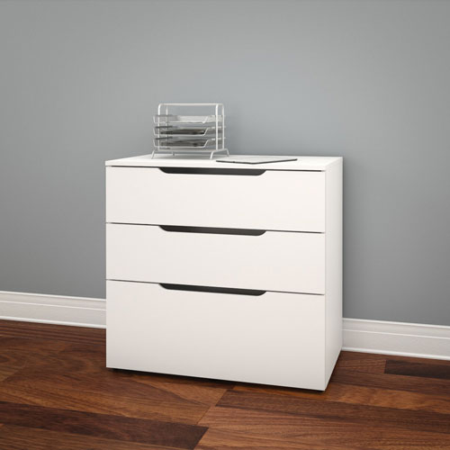 Arobas 3 Drawer File Cabinet   White