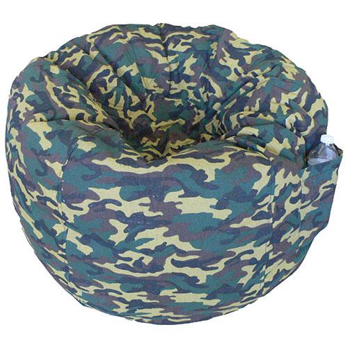 Contemporary Teen Bean Bag Chair - Green Camo
