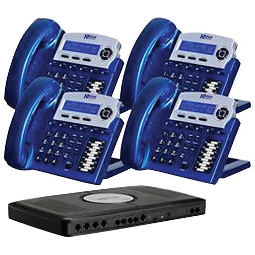 XBLUE Networks X16 4-Phone VoIP Bundle (XB202204VB) - Vivid Blue