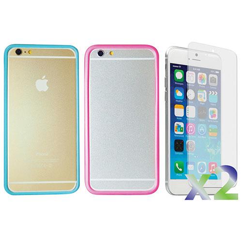Étui souple ajusté d'Exian pour iPhone 6 - Transparent - Bleu et Transparent - Rose