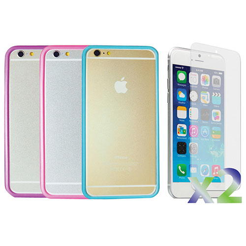 Exian iPhone 6 Fitted Soft Shell Case - Blue/ Pink/ Purple