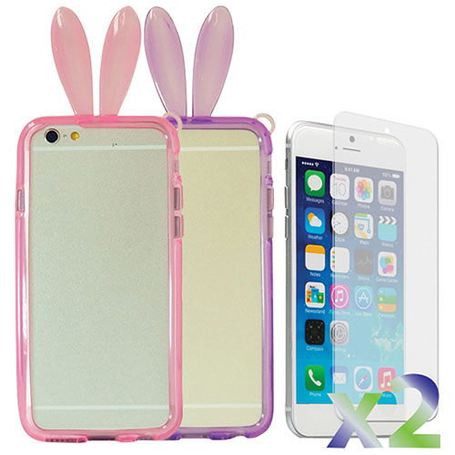 Exian iPhone 6 Fitted Soft Shell Case with Bunny Ears - Pink & Purple