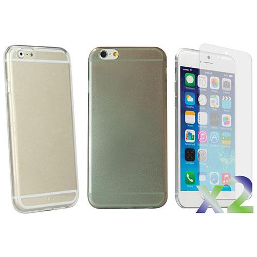 Étui souple ajusté d'Exian pour iPhone 6 - Transparent-gris