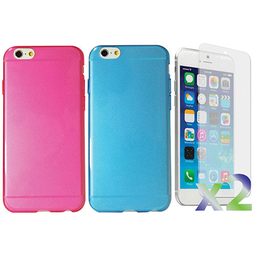 Exian iPhone 6 Fitted Soft Shell Case - Blue & Hot Pink