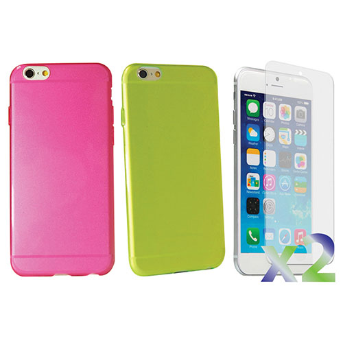 Exian iPhone 6 Fitted Soft Shell Case - Green/ Pink