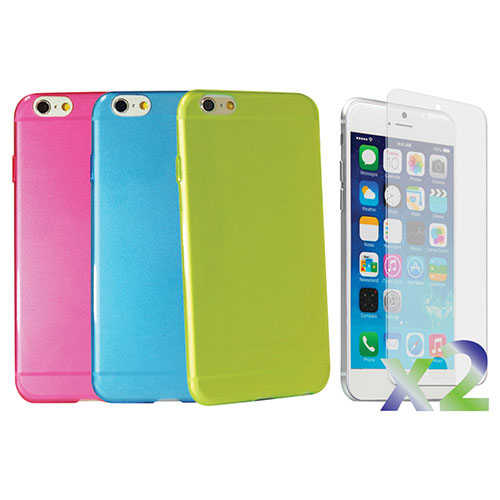 Exian iPhone 6 Fitted Soft Shell Case - Blue/ Green/ Pink