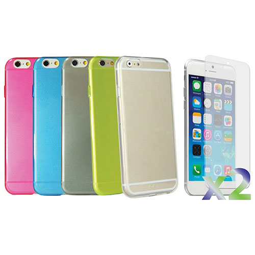 Exian iPhone 6 Fitted Soft Shell Case - Blue/ Clear/ Green/ Grey/ Pink