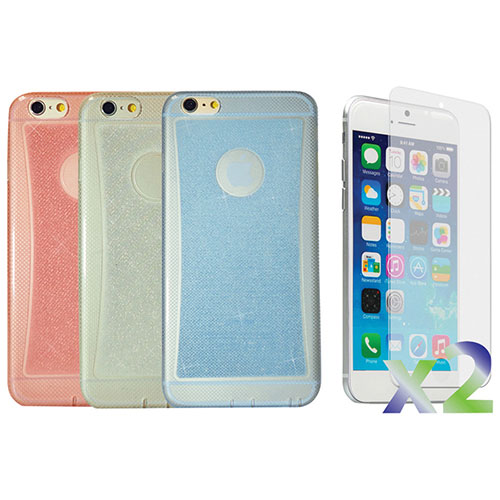 Exian iPhone 6 Fitted Soft Shell Case - Blue/ Clear/ Pink