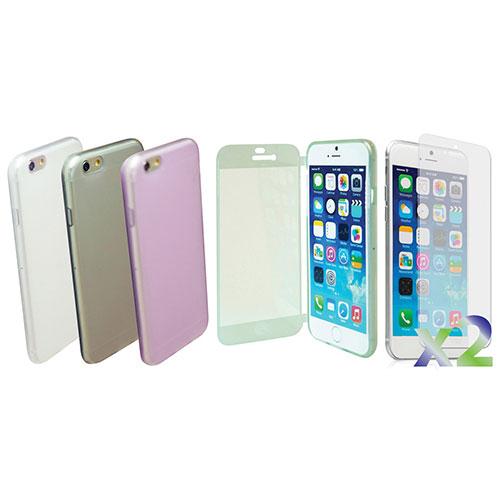 Étui souple ajusté d'Exian pour iPhone 6/6s - Transparent-gris-vert-violet