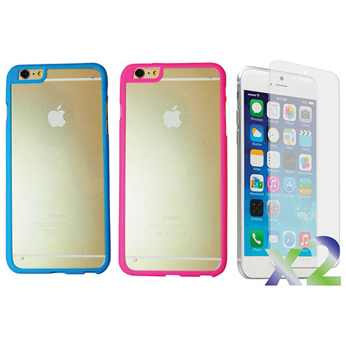 Exian iPhone 6 Fitted Hard Shell Case - Blue/ Pink