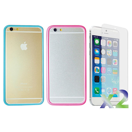 Exian iPhone 6 Plus Fitted Soft Shell Case - 2 Pack - Transparent/ Blue & Transparent/ Pink