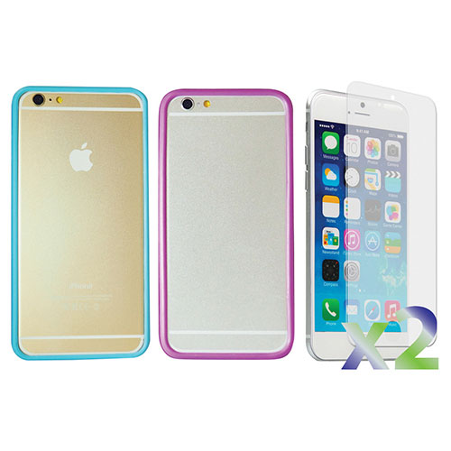 Exian iPhone 6 Plus Fitted Soft Shell Case - 2 Pack - Blue/Purple