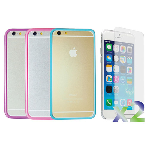 Exian iPhone 6 Plus Fitted Soft Shell Case - 3 Pack - Blue/Pink/Purple
