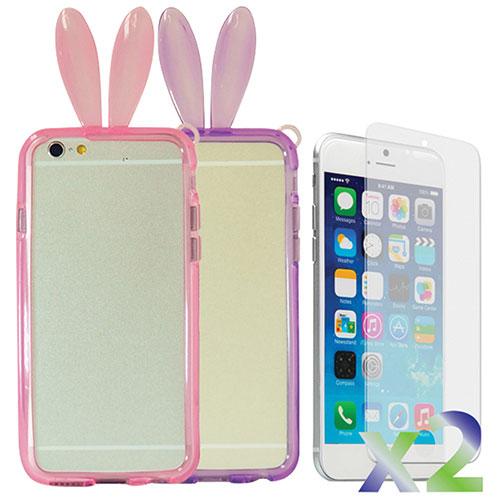 Étui souple ajusté à oreilles de lapin d'Exian pour iPhone 6 Plus - Paquet de 2 - Rose-violet