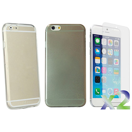 Exian iPhone 6 Plus Fitted Soft Shell Case - 2 Pack - Clear/Grey