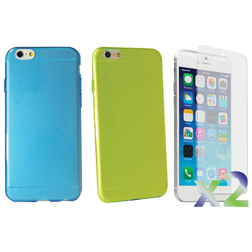 Exian iPhone 6 Plus Fitted Soft Shell Case - 2 Pack - Blue/Green