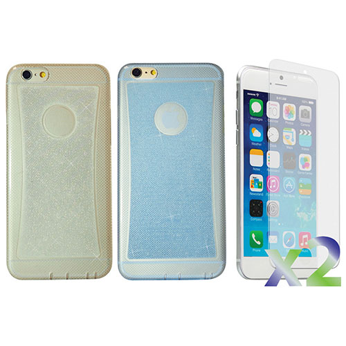 Exian iPhone 6 Plus Fitted Soft Shell Case - 2 Pack - Blue/Clear