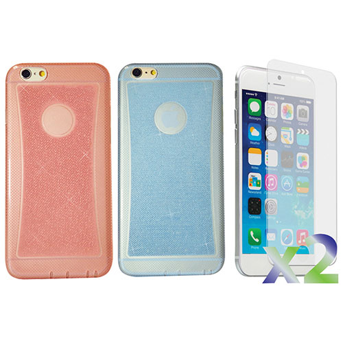 Exian iPhone 6 Plus Fitted Soft Shell Case - 2 Pack - Sparkling Blue/& Sparkling Pink