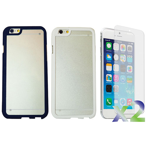 Exian iPhone 6 Plus Fitted Hard Shell Case - 2 Pack - Black/White