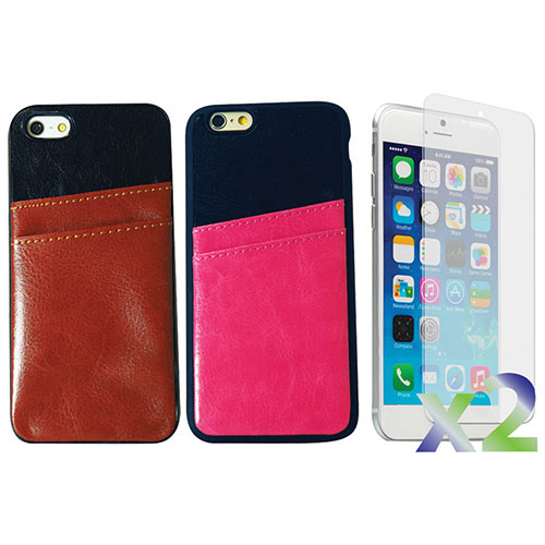 Étui souple ajusté d'Exian pour iPhone 6 Plus avec fentes pour cartes - Paquet de 2 - Brun-rose