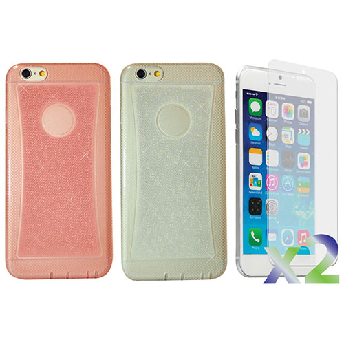 Exian iPhone 6 Plus Fitted Soft Shell Case - 2 Pack - Clear/Pink