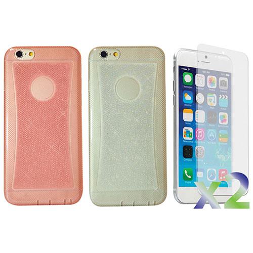 Étui-coque souple ajusté d'Exian pour iPhone 6 Plus - Paquet de 2 - Transparent-rose