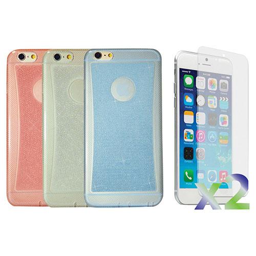 Étui souple ajusté d'Exian pour iPhone 6 Plus - Paquet de 3 - Bleu-transparent-rose