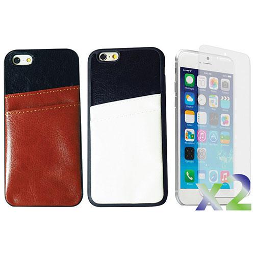 Étui souple ajusté d'Exian pour iPhone 6 Plus avec fentes pour cartes - Paquet de 2 - Bleu-rose