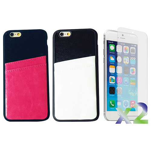 Exian iPhone 6 Plus Fitted Soft Shell Case - 2 Pack - White/Pink