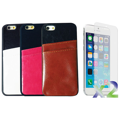 Exian iPhone 6 Plus Fitted Soft Shell Case with Card Slots - 3 Pack - Brown/Pink/White