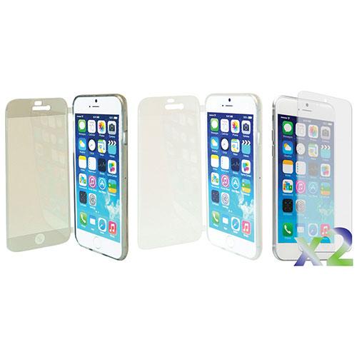 Étui souple ajusté à rabat d'Exian pour iPhone 6 Plus - Paquet de 2 - Transparent - Gris