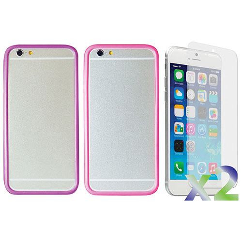 Exian iPhone 6 Plus Fitted Soft Shell Case - 2 Pack - Pink/Purple